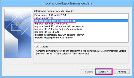 Scegliere Importa dati da altri programmi o file.