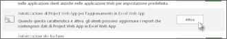 Autorizzazione di Project Web App per l'aggiornamento di Excel Web App