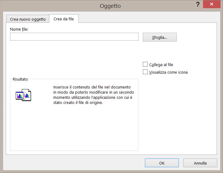 """Scheda """"Crea da file"""" nella finestra di dialogo Oggetto"""