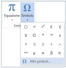 Nel menu Simbolo fare clic su Altri simboli.