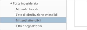 Screenshot di Mittenti attendibili del menu Opzioni