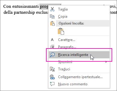 L'opzione Ricerca intelligente viene evidenziata quando si fa clic con il pulsante destro del mouse sul testo o su un'immagine
