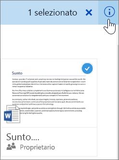 Screenshot della selezione di un elemento e dell'icona di informazioni