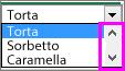 Viene visualizzata la barra di scorrimento.