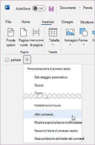 Aggiungere un comando personalizzato alla barra di accesso rapido