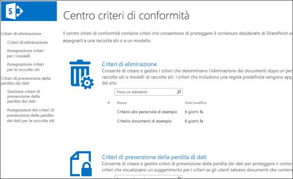 Centro criteri di conformità