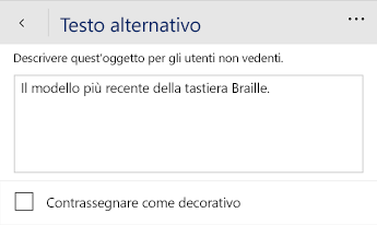 Finestra di dialogo Testo alternativo in Word Mobile