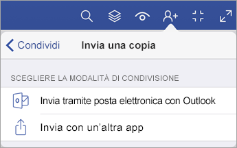 Menu Invia una copia che mostra due opzioni su condividere un file, con la posta elettronica di Outlook o con un'altra app.