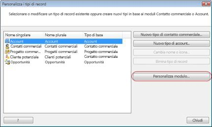 Finestra di dialogo Personalizza i tipi di record con il pulsante Personalizza modulo delineato.