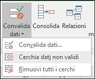 Cerchia dati non validi nella barra multifunzione