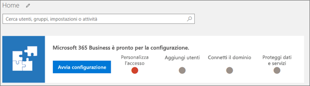 Screenshot della configurazione guidata di Business Cloud Suite