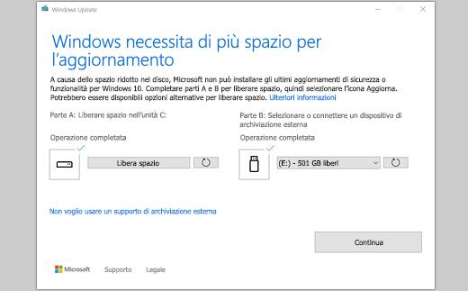 Per eseguire l'aggiornamento, Windows richiede più spazio - Messaggio