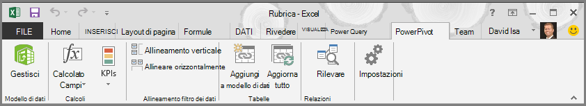 Barra multifunzione di Power Pivot