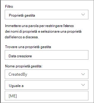 Contenuto evidenziato con filtro per proprietà gestita