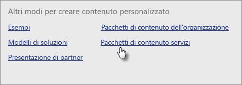 Libreria del pacchetto di contenuto, in Servizi, scegliere Ottieni.