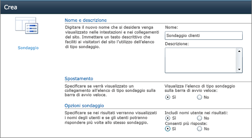 Pagina Opzioni sondaggio di SharePoint 2010