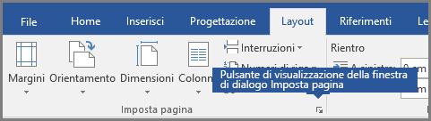 Pulsante di visualizzazione della finestra di dialogo per l'impostazione della pagina in Word.