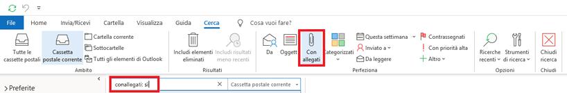 """Criteri di ricerca """"Da"""", """"Oggetto"""", """"Con allegati"""""""