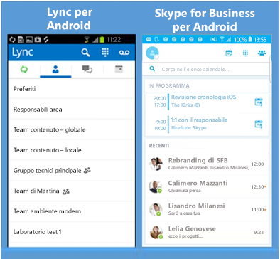 Screenshot affiancati di Lync e Skype for Business