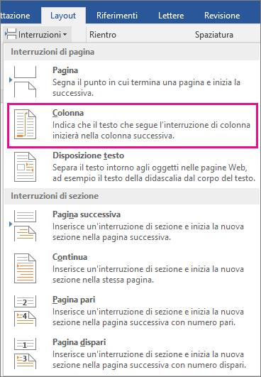 Opzione Colonna evidenziata nel menu Interruzioni.