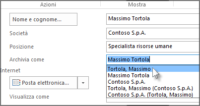 Fare clic nella casella a destra di Archivia come e selezionare il formato desiderato.