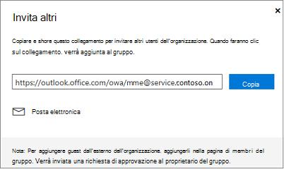 Fare clic su copia o messaggio di posta elettronica per incorporare il collegamento di join in un messaggio di posta elettronica