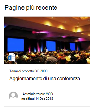 Esempio di immagine di anteprima della pagina nella web part contenuto evidenziato