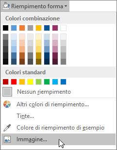 Screenshot dell'opzione Riempimento immagine da Riempimento forma nella scheda Formato in Publisher.