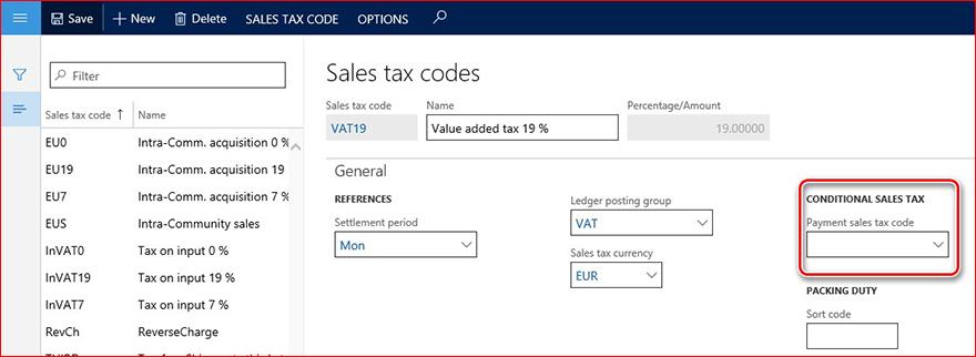 Questa immagine mostra il campo codice tipo di vendita di pagamento.