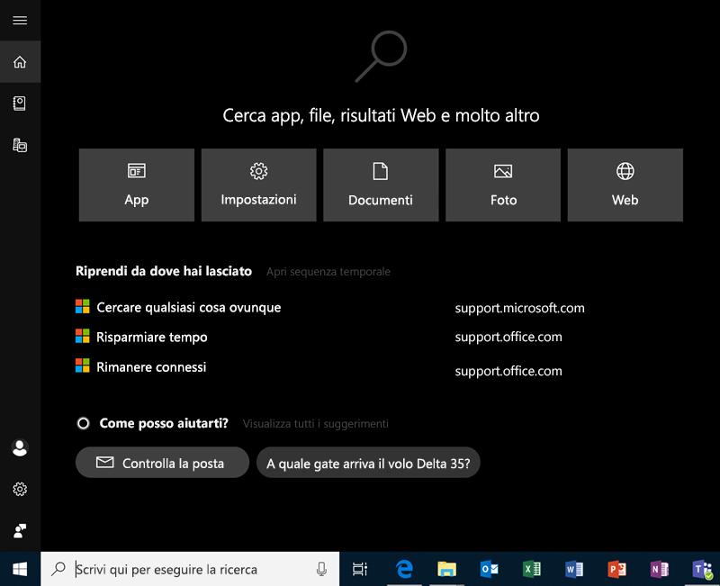 Eseguire ricerche in Windows 10
