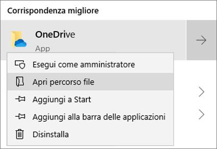 Screenshot che mostra il menu di scelta rapida nel menu Start, con Apri percorso file selezionato.