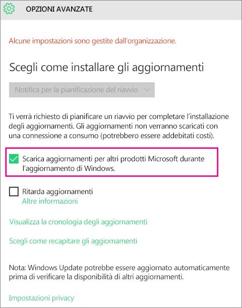 Opzioni avanzate di Windows Update