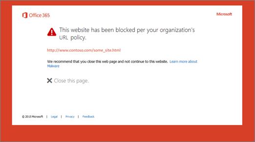 Pagina di avviso originale su un URL bloccato