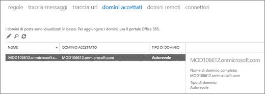 Lo screenshot mostra la pagina Domini accettati dell'interfaccia di amministrazione di Exchange. Vengono visualizzate informazioni sul nome, sul dominio accettato e sul tipo di dominio.