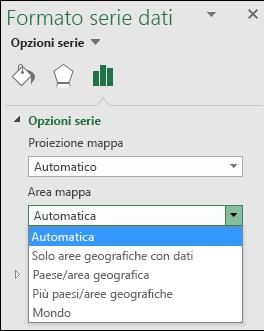 Opzioni Area mappa del grafico a mappa di Excel