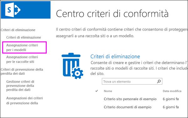 Collegare le assegnazioni dei criteri per i modelli