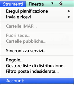 Strumenti > Account in Outlook per Mac