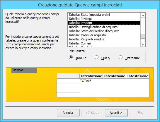 Nella Creazione guidata Query a campi incrociati selezionare una tabella o una query.