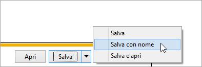 Screenshot del pulsante Salva con nome