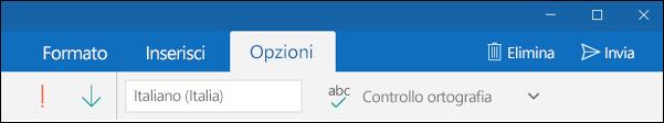 Scheda Opzioni nell'app Posta di Outlook