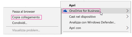 OneDrive for Business, Copia collegamento