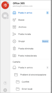 Barra di spostamento di Outlook Mobile