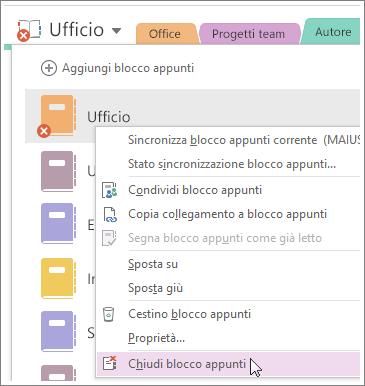 Screenshot che illustra come chiudere un blocco appunti in OneNote 2016.