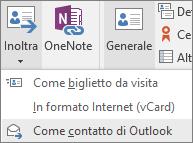 Nel gruppo Azioni della scheda Contatto di Outlook scegliere Inoltra e quindi scegliere un'opzione.