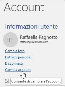 Schermata che illustra come cambiare account in informazioni Account