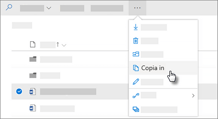 Screenshot del comando Copia in di OneDrive for Business