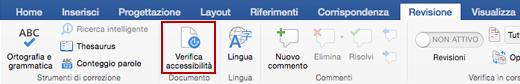 Screenshot della scheda Revisione sulla barra multifunzione con l'icona Verifica accessibilità