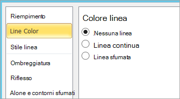Non selezionare Nessuna linea per la casella di testo colore linea
