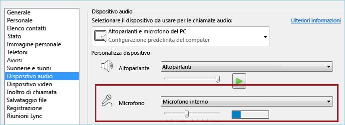 Schermata controllo audio del microfono per Lync