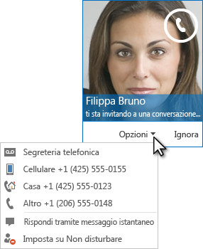 Schermata dell'avviso di chiamata audio con l'immagine del contatto nell'angolo superiore